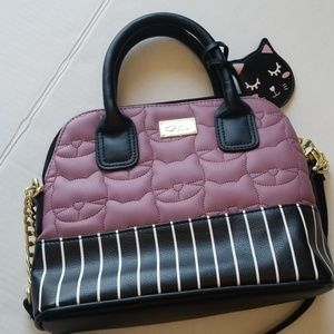 Luv betsey Johnson stripe quilted kitty crossbody